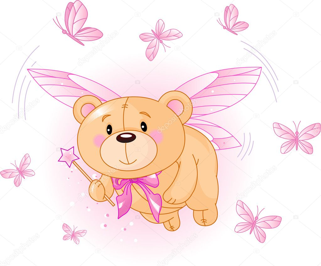 Very cute Teddy Bear with Magic wand flying — Stock Vector #1289727