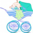 Baby boy in carriage - Stock Photo