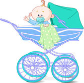 Baby boy in carriage — Stock Photo
