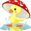 Duck under rain — Stock Vector