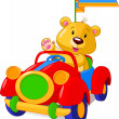 Bear in Toy Car — Imagen vectorial