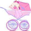 Baby girl in carriage - Stock Vector