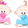 Stock Vector: Two Babies