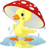 Duck under rain — Stock Vector
