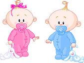 Twin Babies — Stock Vector