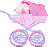 Baby girl in carriage — Stock Vector