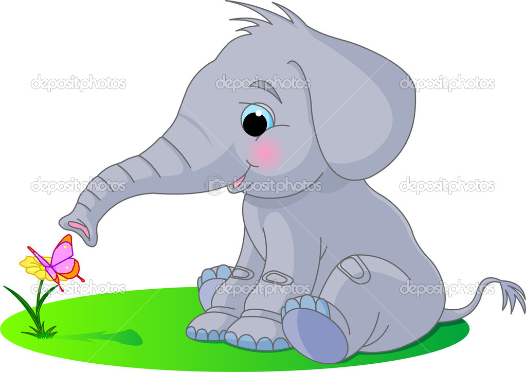 Cute baby elephant looks at the butterfly sitting on a flower — Stock Vector #1290037
