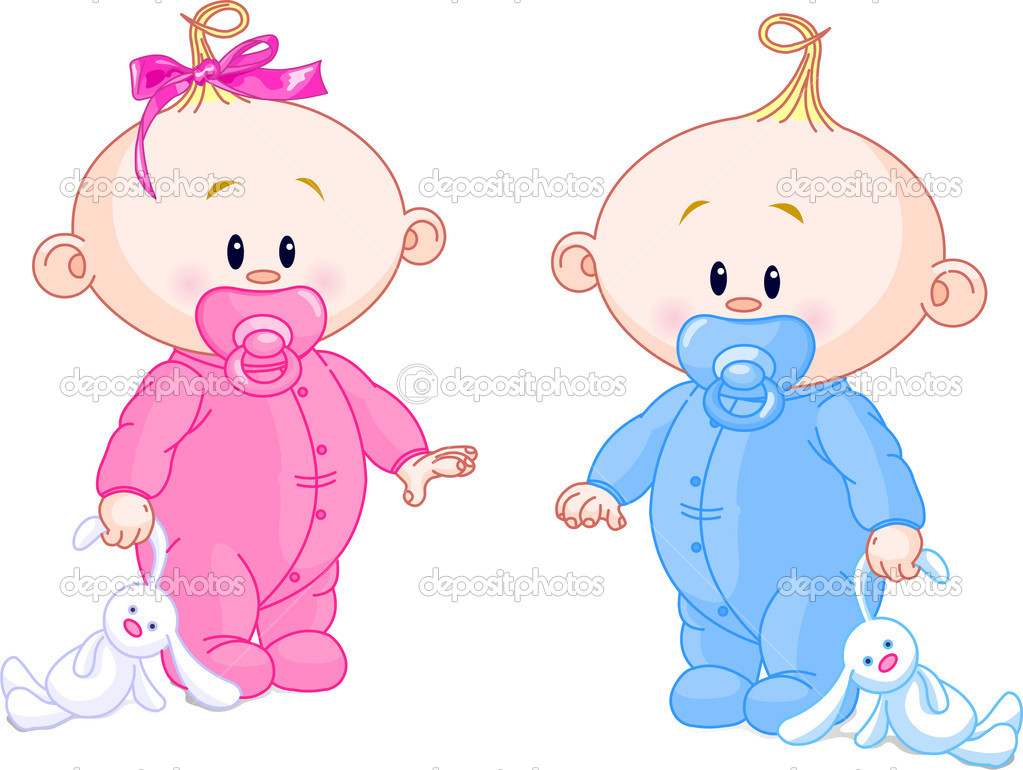 Twin Baby Boy And Girl With Pacifiers and Toys — Stock Vector #1290106