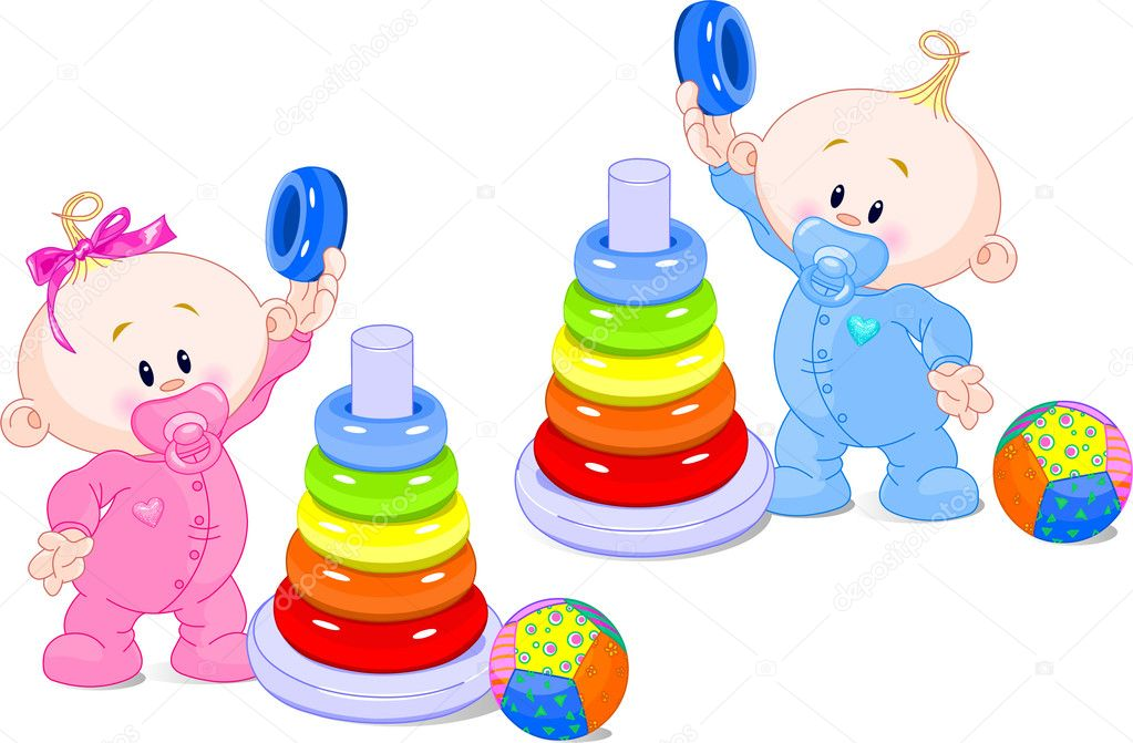 The toddler boy and girl plays developing game. Color pyramid. — Stock Vector #1290151