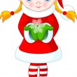 Vector de stock : Christmas girl