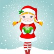 Christmas girl in snow — Vector de stock