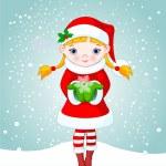 Boże Narodzenie dziewczyna w śniegu — Wektor stockowy