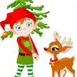 Elf and Rudolf - Stock Vector