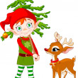 Stock Vector: Elf and Rudolf
