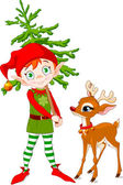 Elf en rudolf — Stockvector