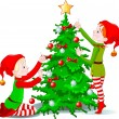 Elves decorate a Christmas Tree — Imagen vectorial