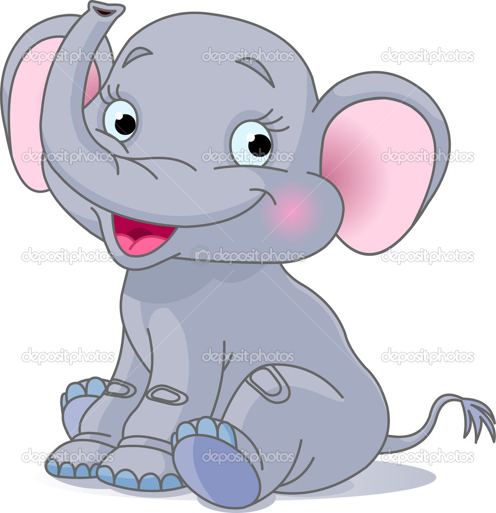 Very Cute baby elephant sitting  and smiling — Stock Vector #1366598