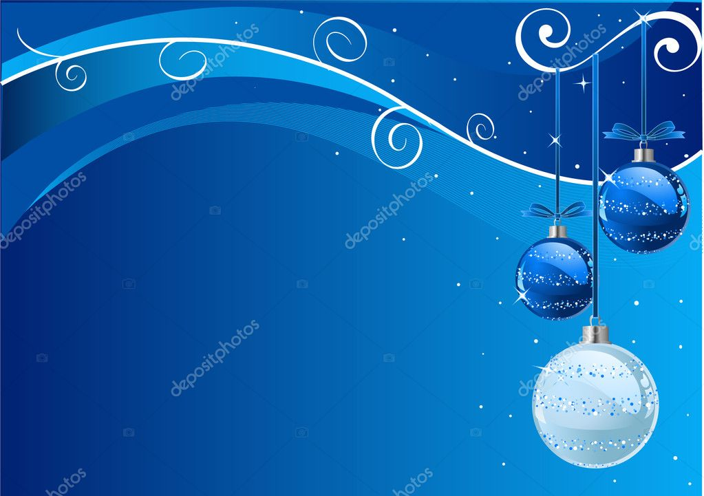 Blue Abstract Vector Christmas Background with balls  — Image vectorielle #1391530