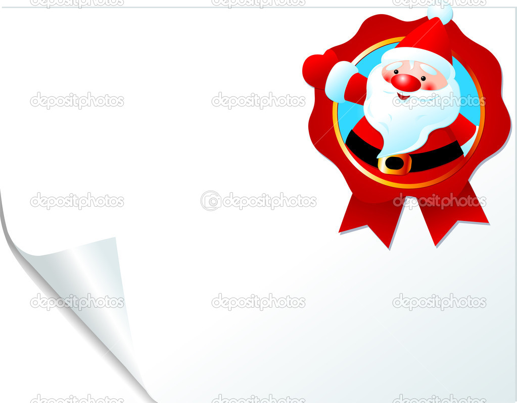 Christmas Santa emblem on curled paper. Place for copy/text.  Stock Vector #1392089