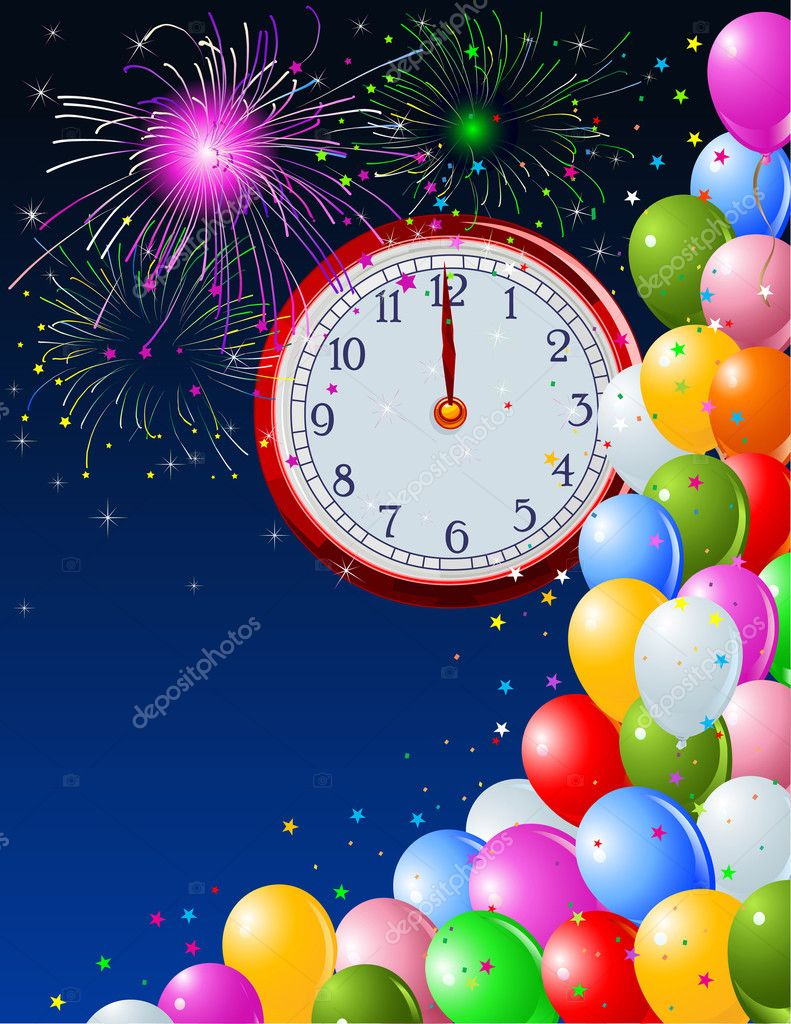 New Year background with clockwork. Copy/space. Suitable for New Year  Stock Vector #1411954