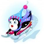 rápido divertido pingüino — Vector de stock