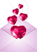 Opened envelope with love hearts — Stock Vector