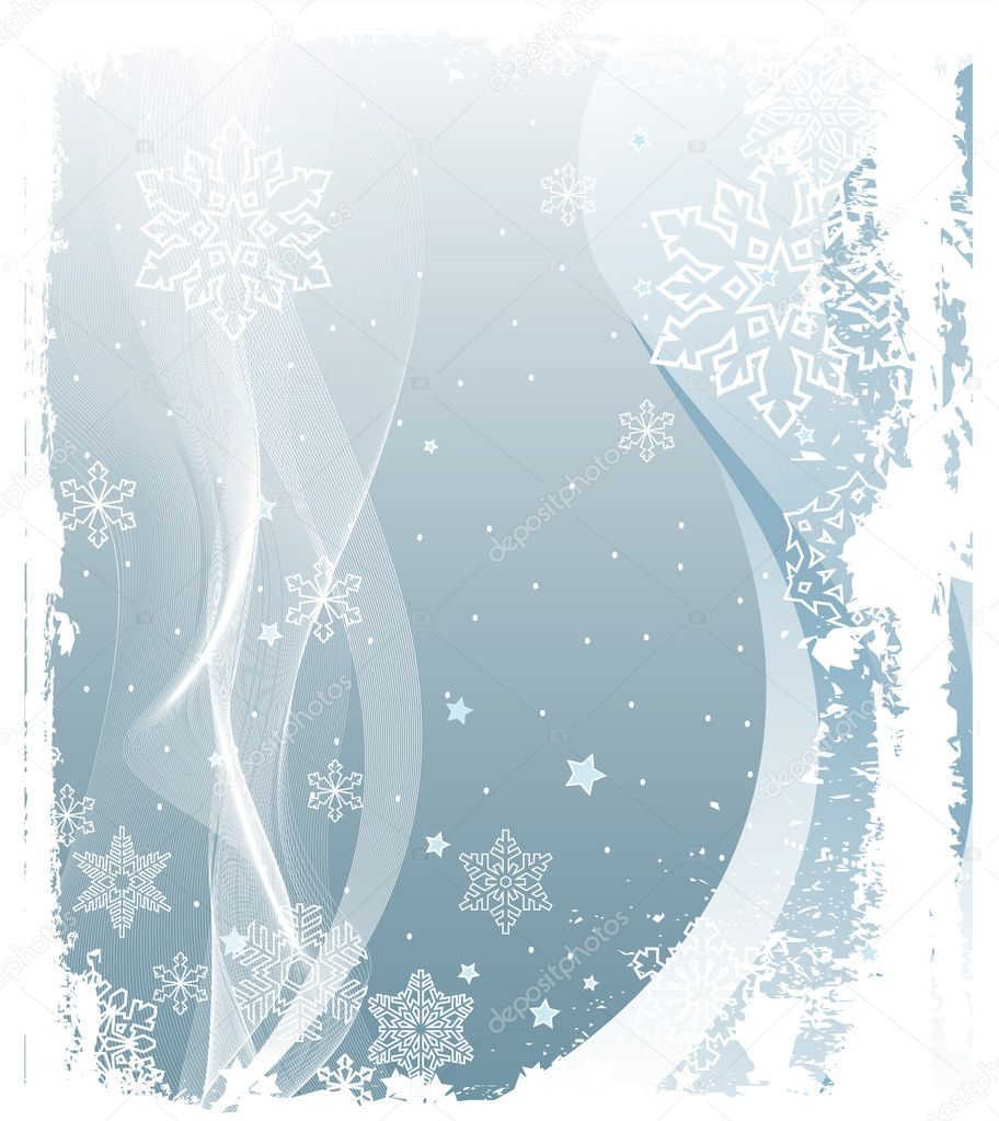 Illustration of Grunge Snowing Winter Background — Stok Vektör #1491885