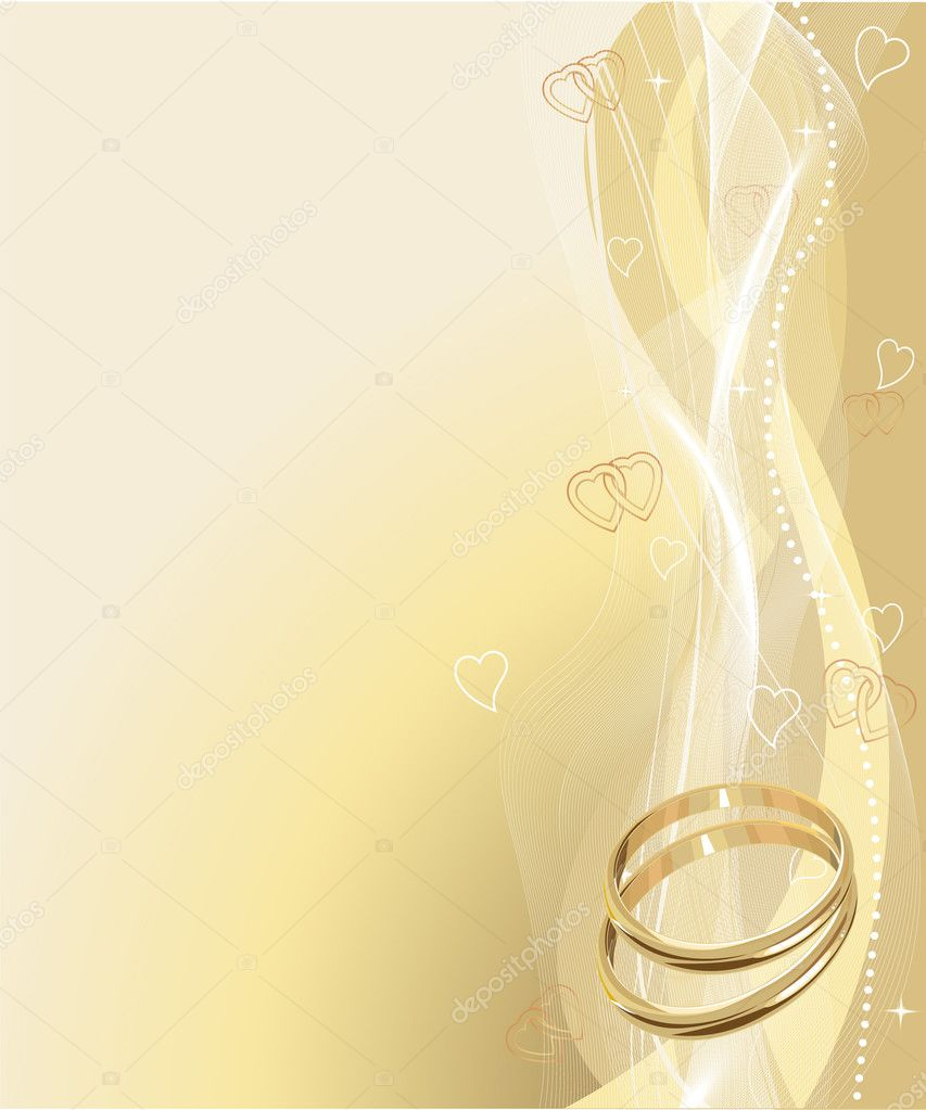 Illustrated Beautiful Wedding rings Background with place for copy\text     #1517003