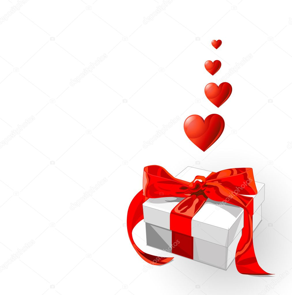 Little gift with red bow and flying hearts — Stock Vector #1518616