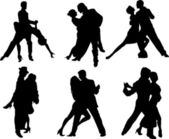 Tango dancers silhouettes — Stock Vector