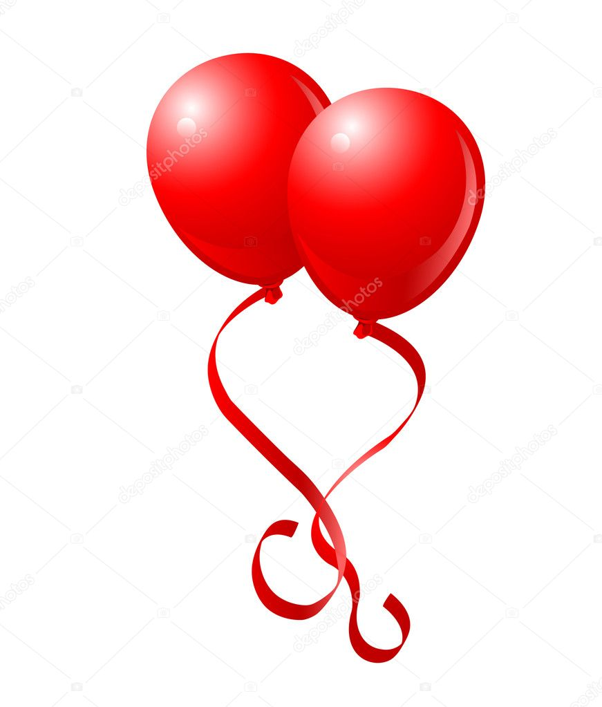 Two Red Balloons with Graceful Red Ribbons like love heart — Stock Vector #1530419