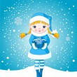 Winter girl in snow — Vector de stock