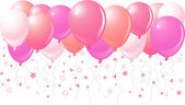 Pink balloons flying up — Stock Vector