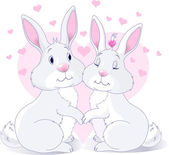 Bunnies in love — Stock Vector
