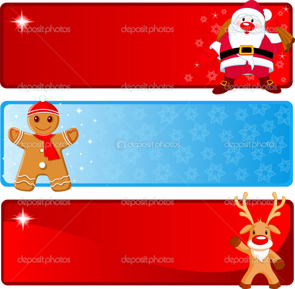 Vector Christmas Banners with Santa Claus, Gingerbread and Rudolf  Stock Vector #1609584