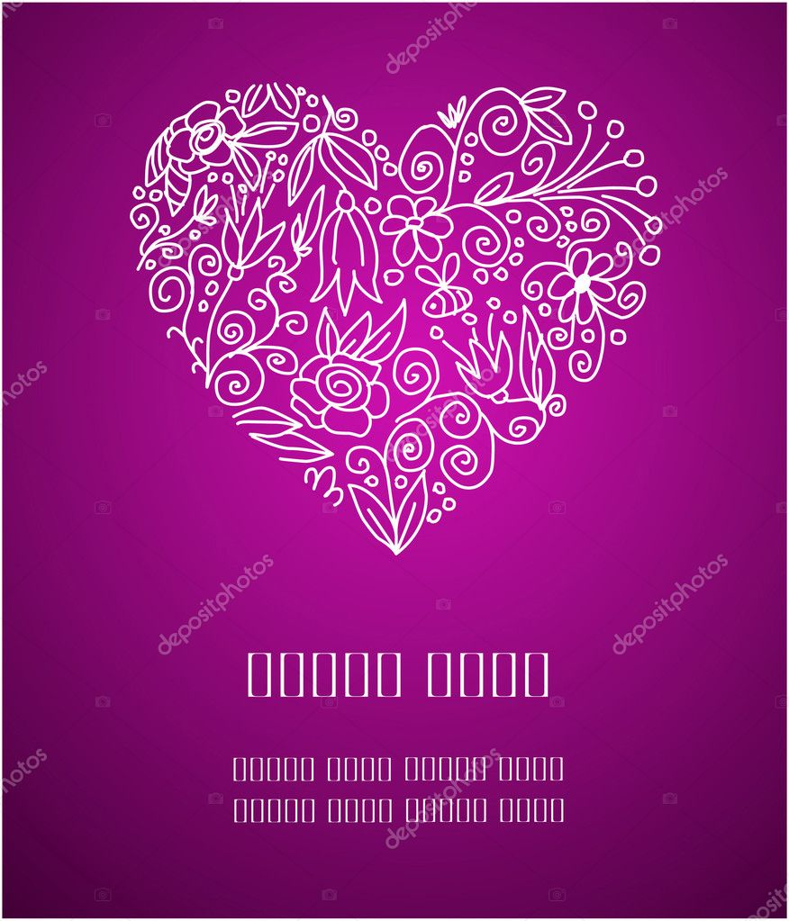 Place for your Valentine greetings on purple background — Image vectorielle #1694220