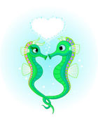 Seahorses in love — Stock Vector
