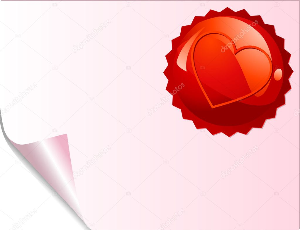 Valentine red emblem on curled paper. Place for copy/text. — Stock Vector #1712721