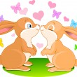 Bunnies in love — Stock Vector #1728347