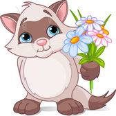Cute kitten with flowers — Stock Vector