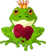 Frog with heart — Stock Vector