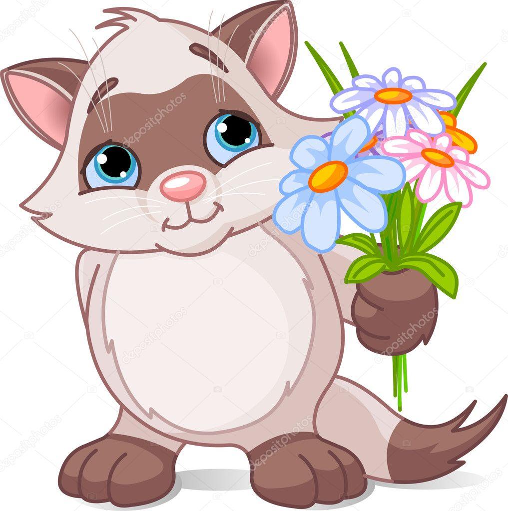 картинки котята с цветами: