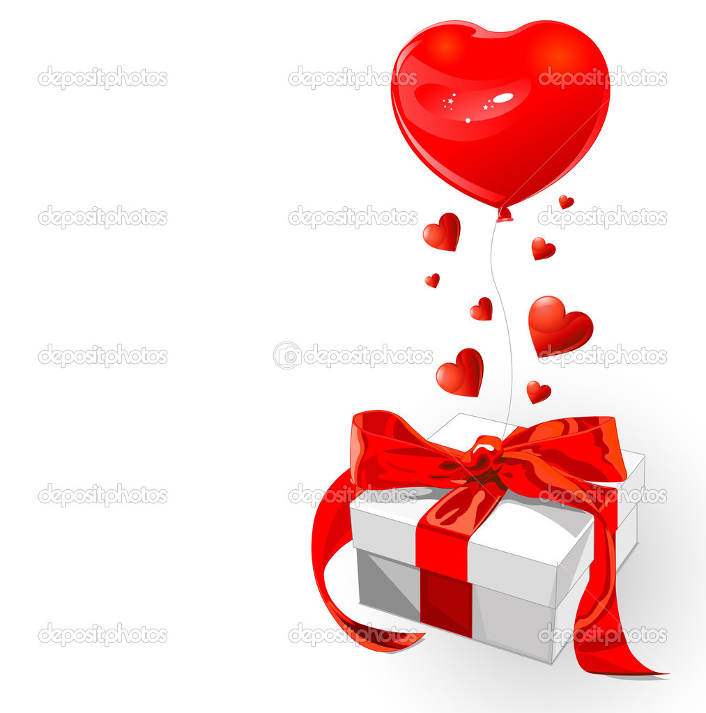 Valentine gift with red bow and heart shape balloon — 图库矢量图片 #1784781