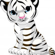 Stock Vector: Cute white tiger cub