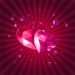 Valentine card with crystal hearts — Stock Vector