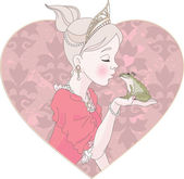 Princess Kissing Frog — Stockvector