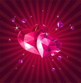 Cartolina di san valentino con cuori di cristallo — Vettoriale Stock