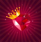情人节卡与水晶之心 — 图库矢量图片