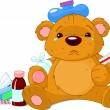 Sick Teddy Bear - Stock Vector