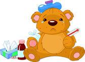 Sick Teddy Bear — Stock Vector